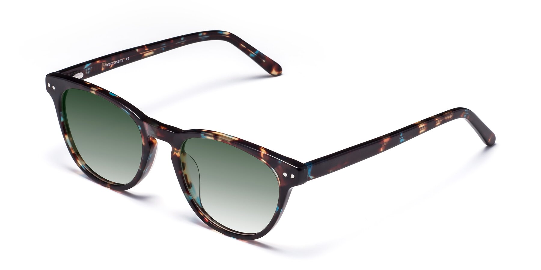 Angle of Blaze in Tortoise-Blue with Green Gradient Lenses