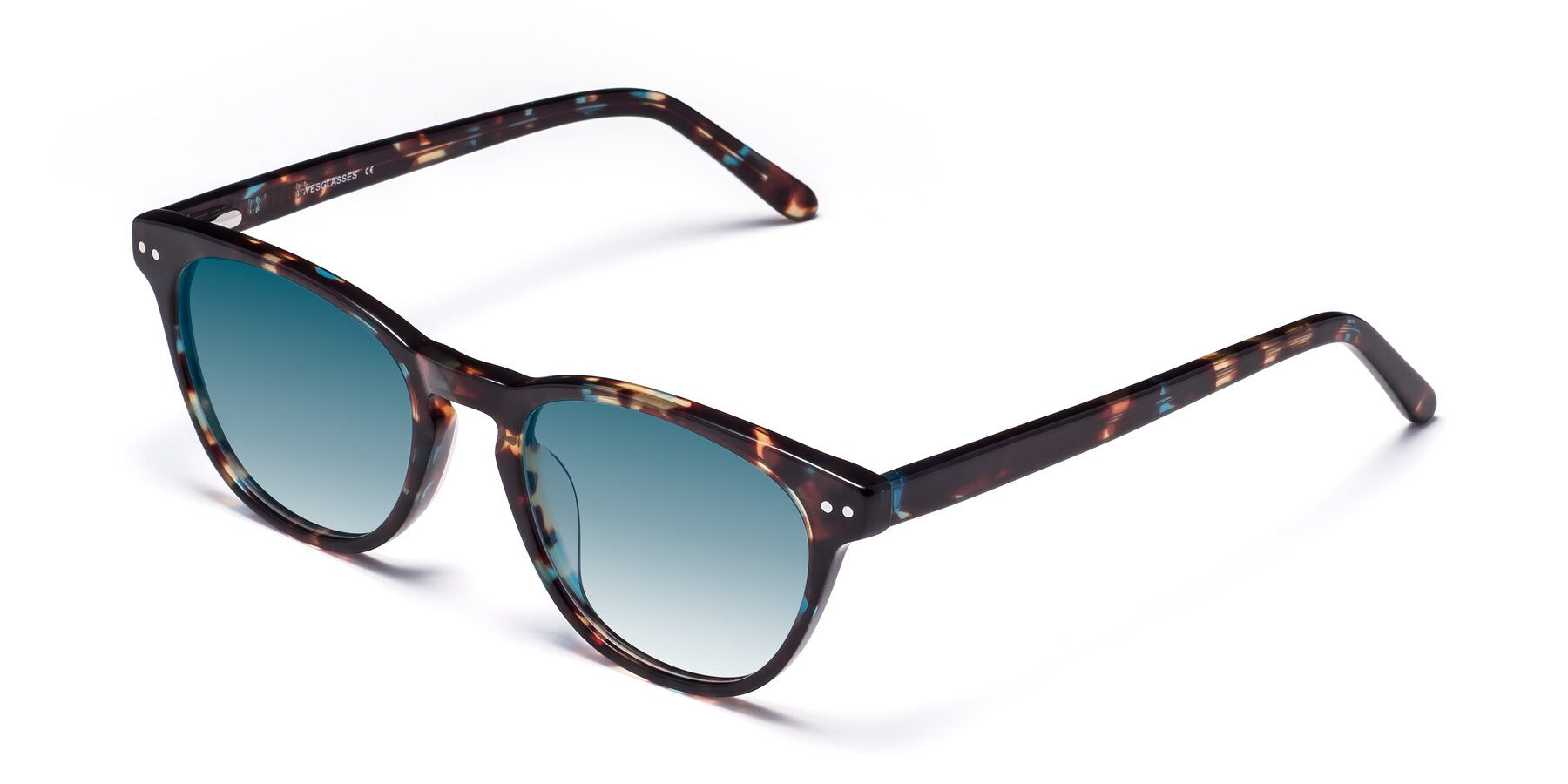 Angle of Blaze in Tortoise-Blue with Blue Gradient Lenses