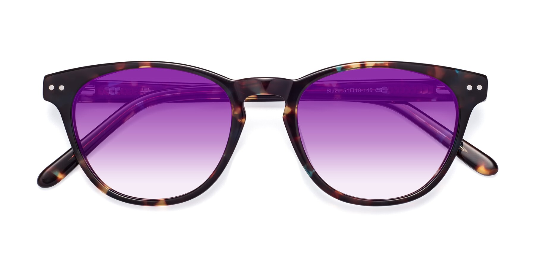 Folded Front of Blaze in Tortoise-Blue with Purple Gradient Lenses