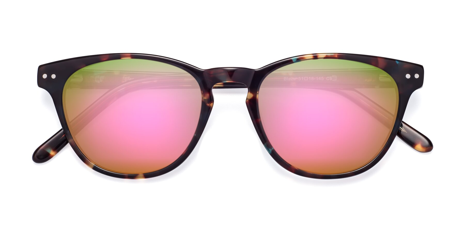 Folded Front of Blaze in Tortoise-Blue with Pink Mirrored Lenses