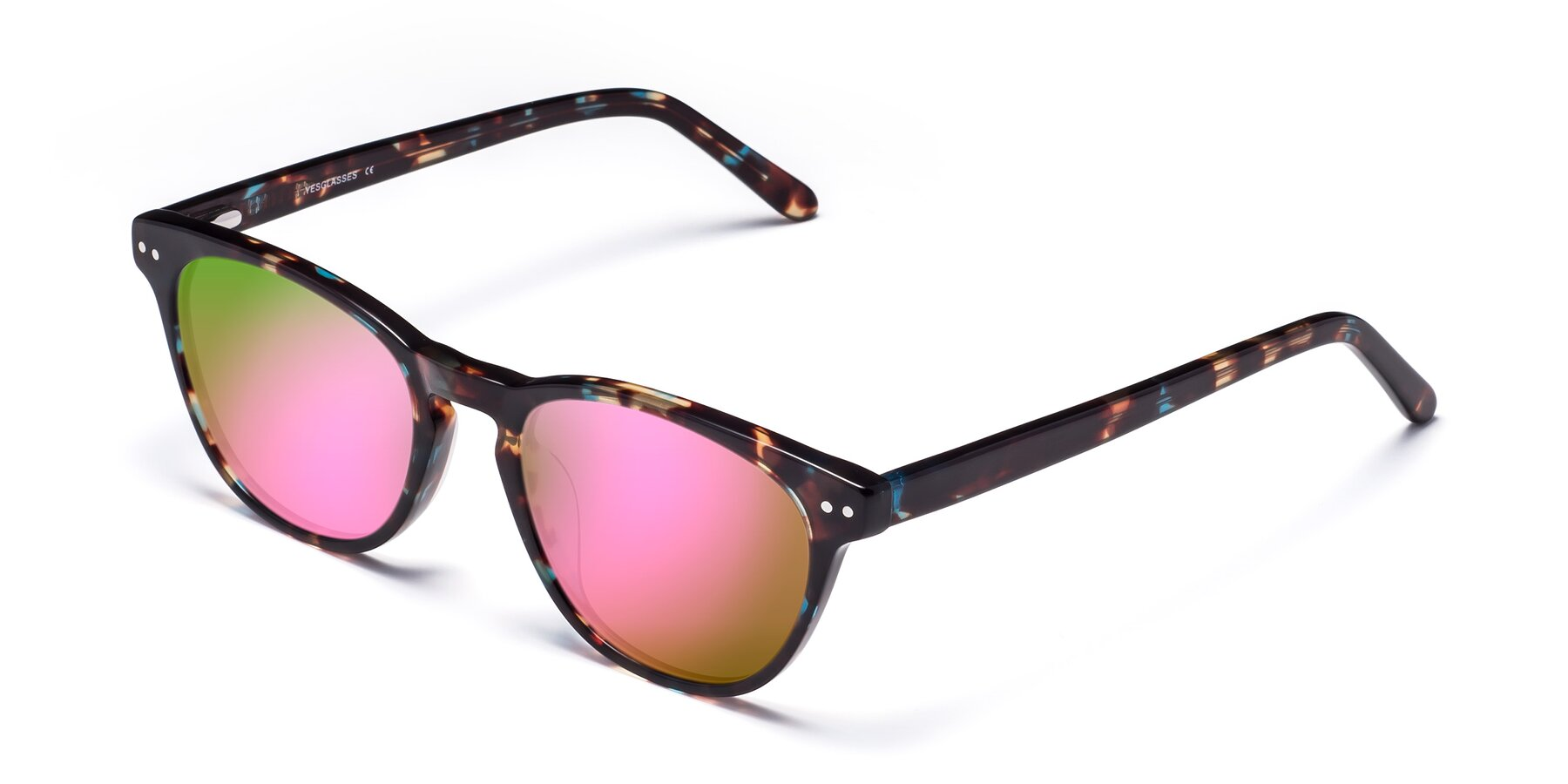 Angle of Blaze in Tortoise-Blue with Pink Mirrored Lenses