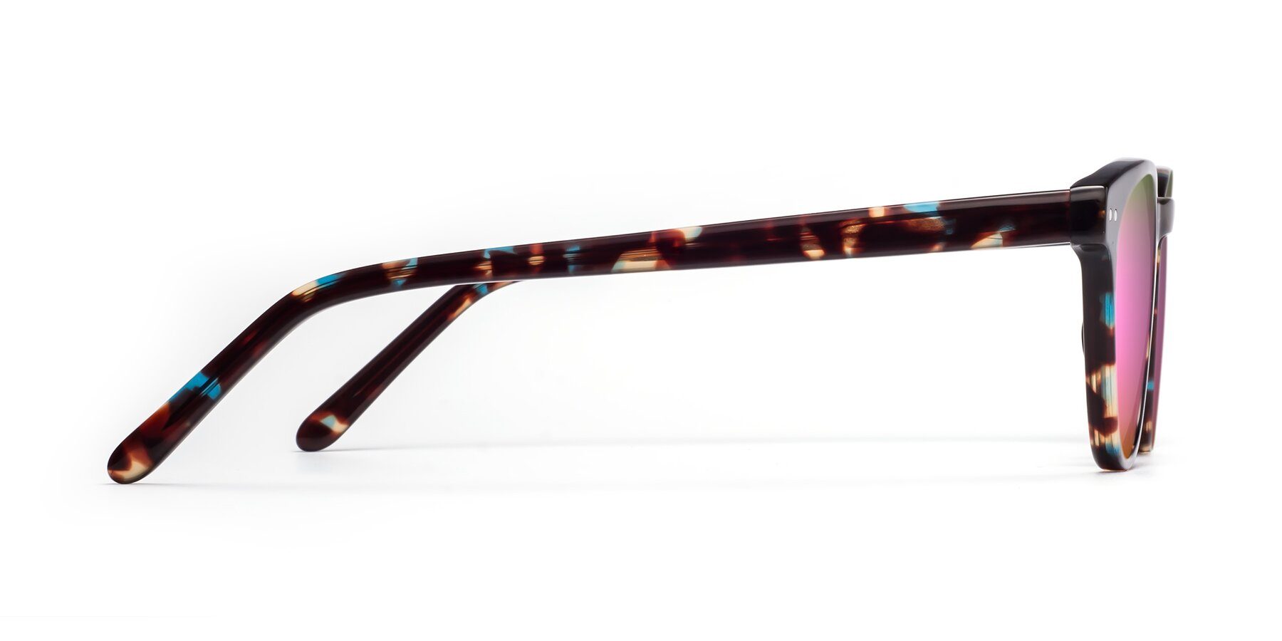 Side of Blaze in Tortoise-Blue with Pink Mirrored Lenses