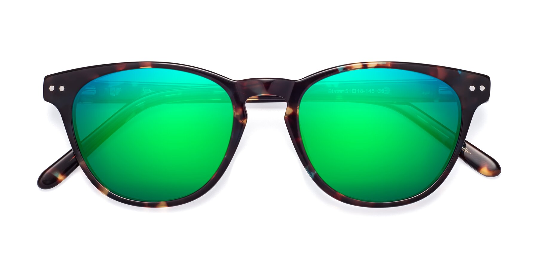 Folded Front of Blaze in Tortoise-Blue with Green Mirrored Lenses
