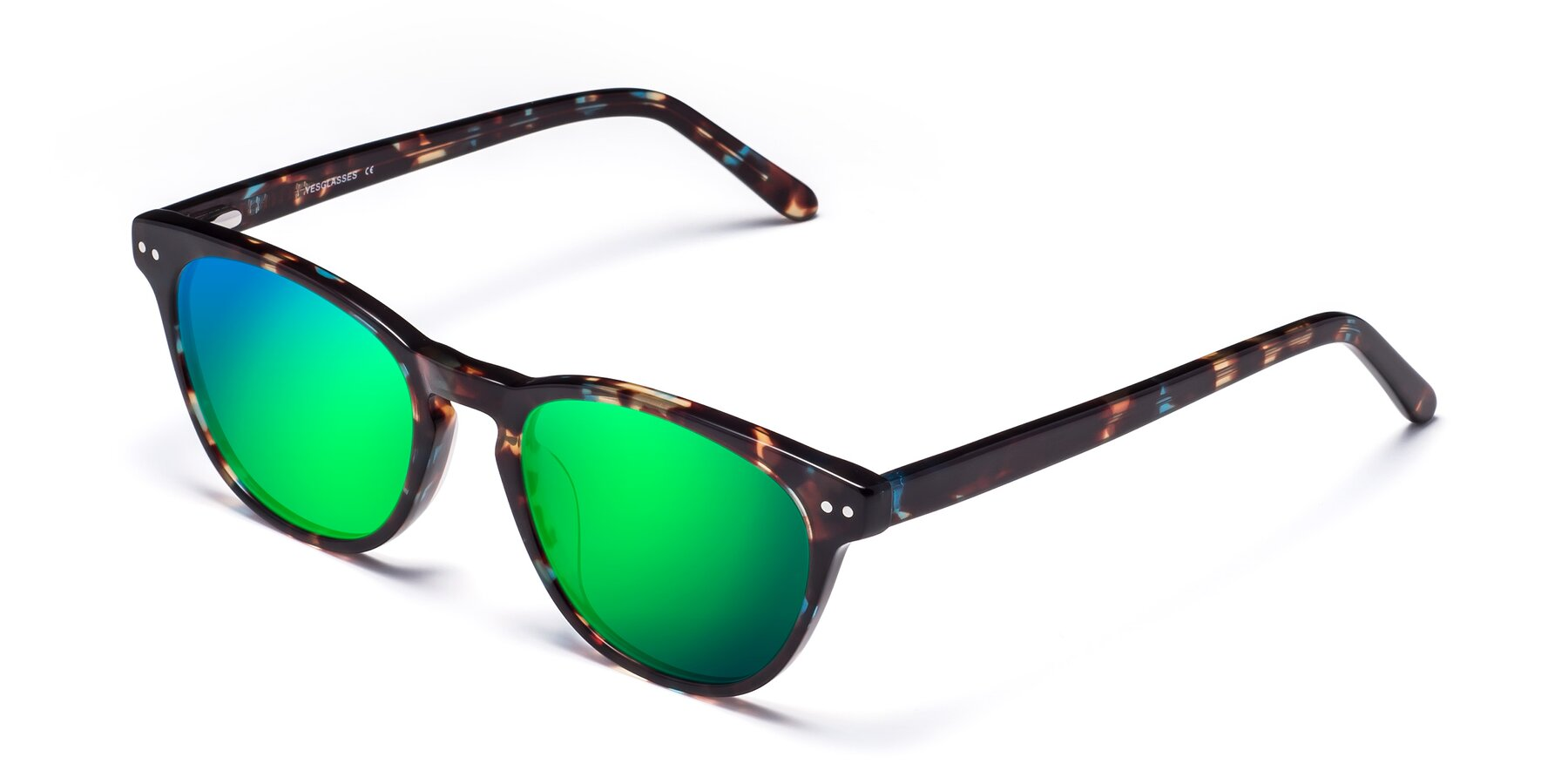 Angle of Blaze in Tortoise-Blue with Green Mirrored Lenses