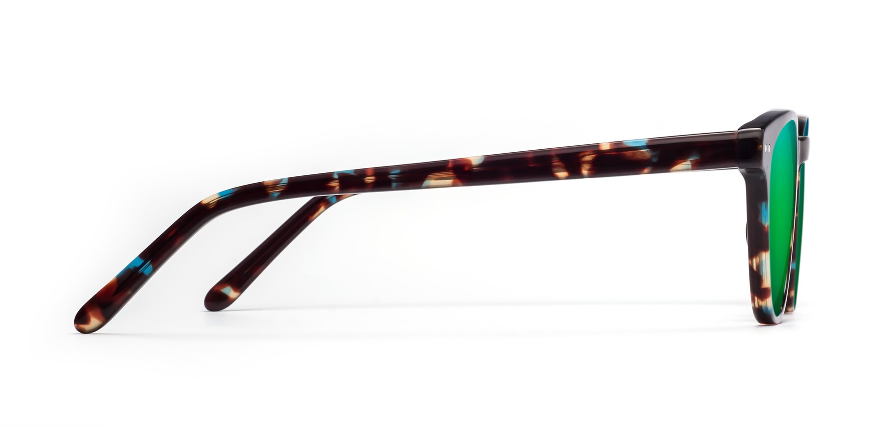 Side of Blaze in Tortoise-Blue with Green Mirrored Lenses