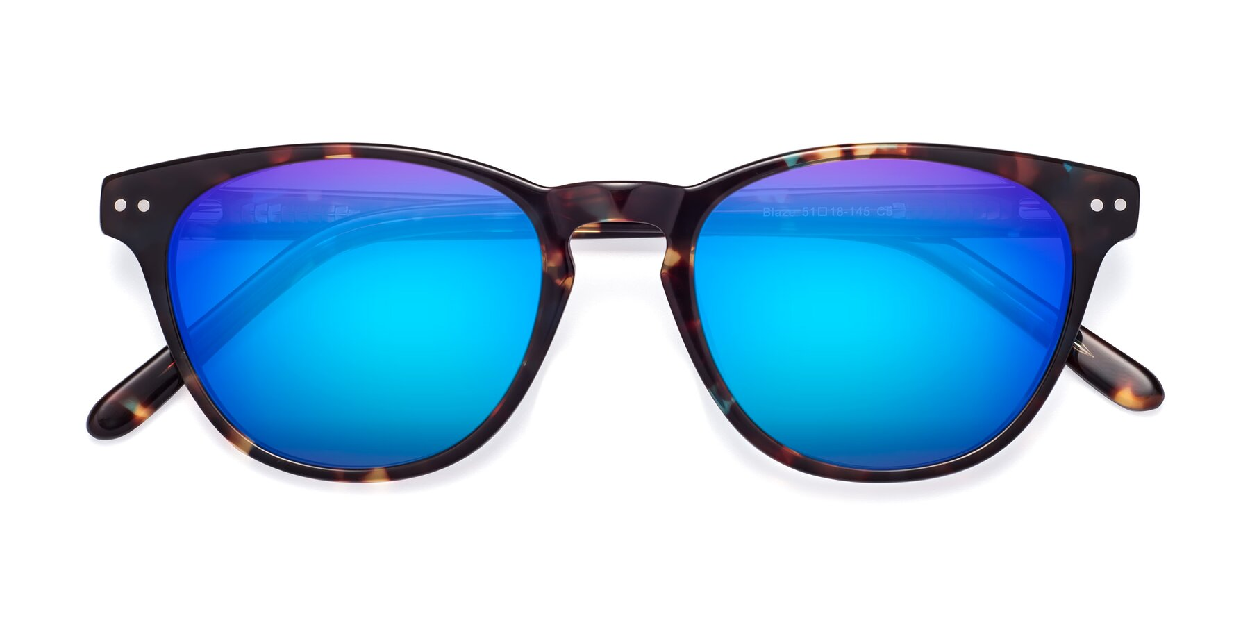 Folded Front of Blaze in Tortoise-Blue with Blue Mirrored Lenses