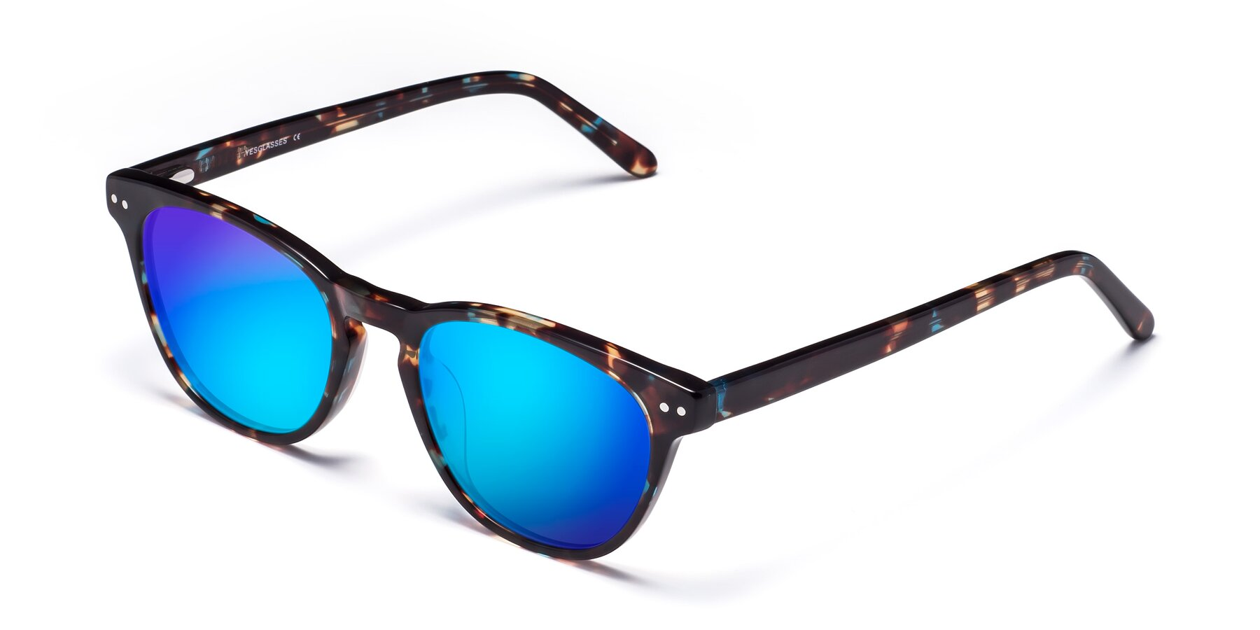 Angle of Blaze in Tortoise-Blue with Blue Mirrored Lenses