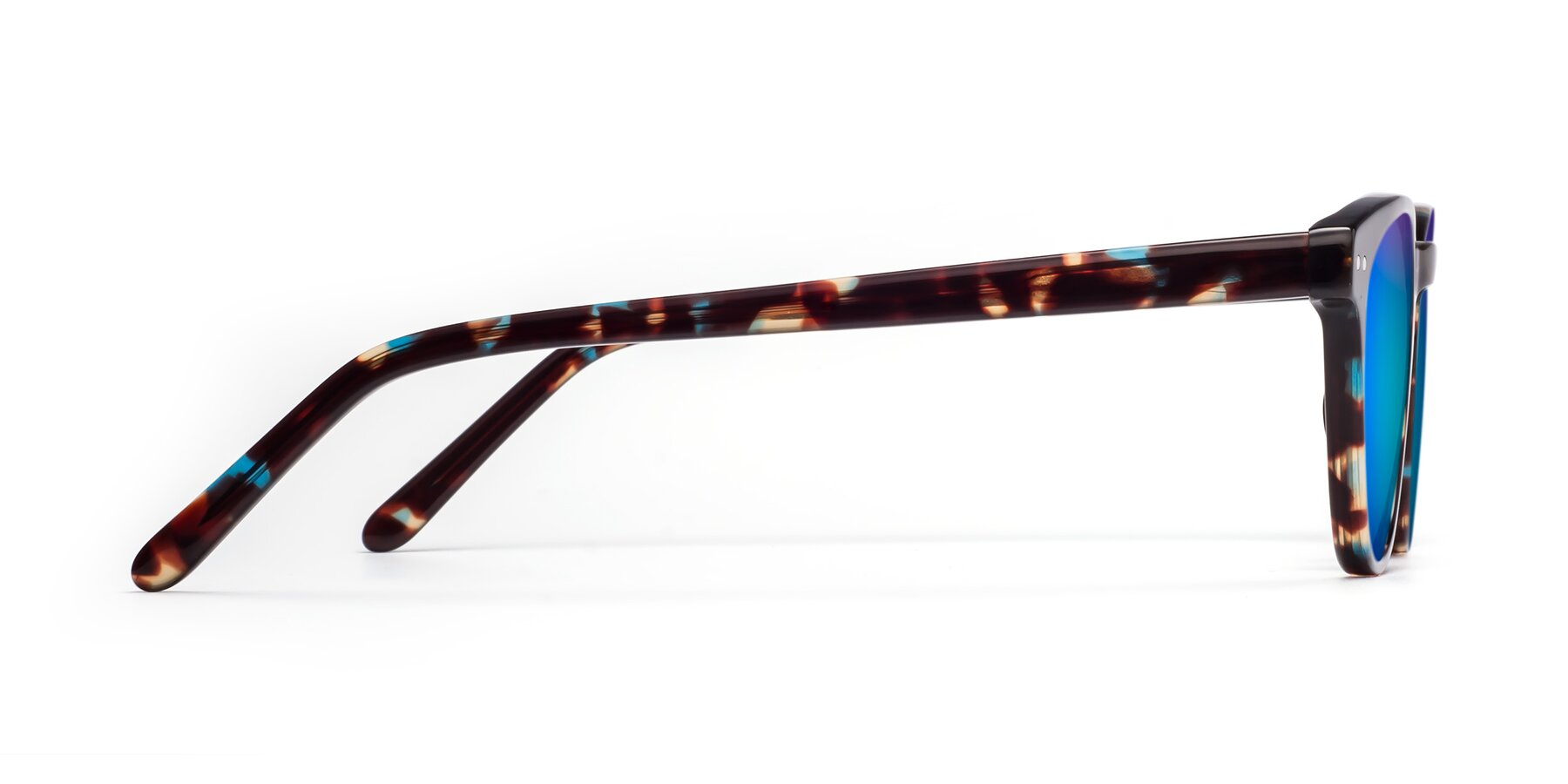 Side of Blaze in Tortoise-Blue with Blue Mirrored Lenses