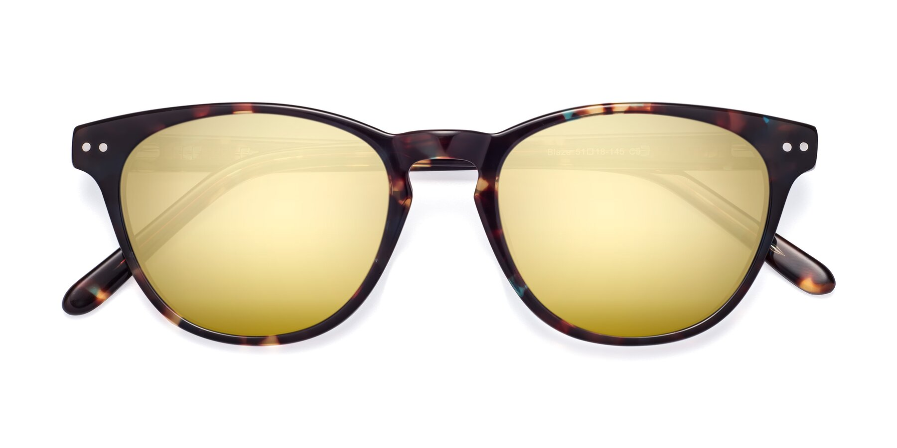 Folded Front of Blaze in Tortoise-Blue with Gold Mirrored Lenses