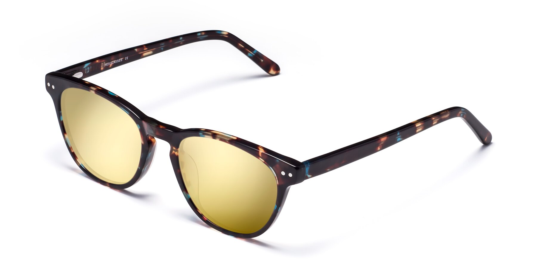 Angle of Blaze in Tortoise-Blue with Gold Mirrored Lenses