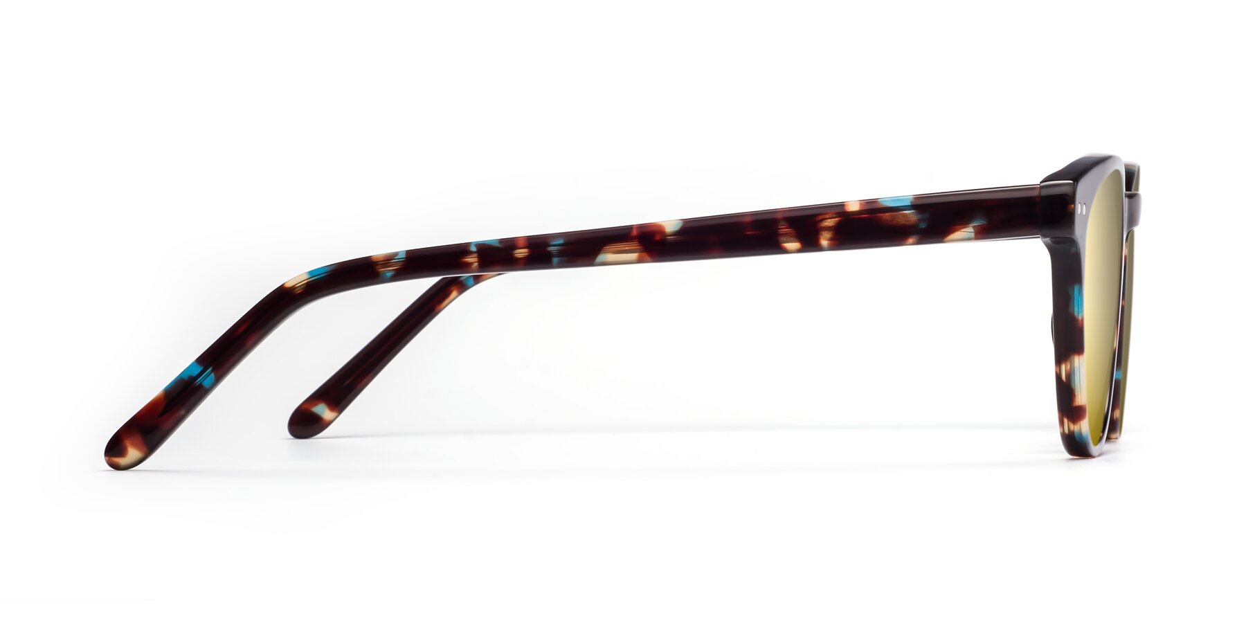 Side of Blaze in Tortoise-Blue with Gold Mirrored Lenses