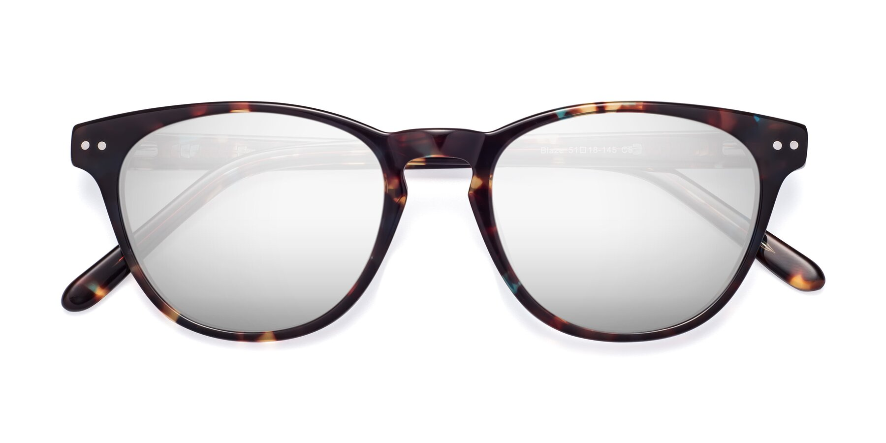 Folded Front of Blaze in Tortoise-Blue with Silver Mirrored Lenses