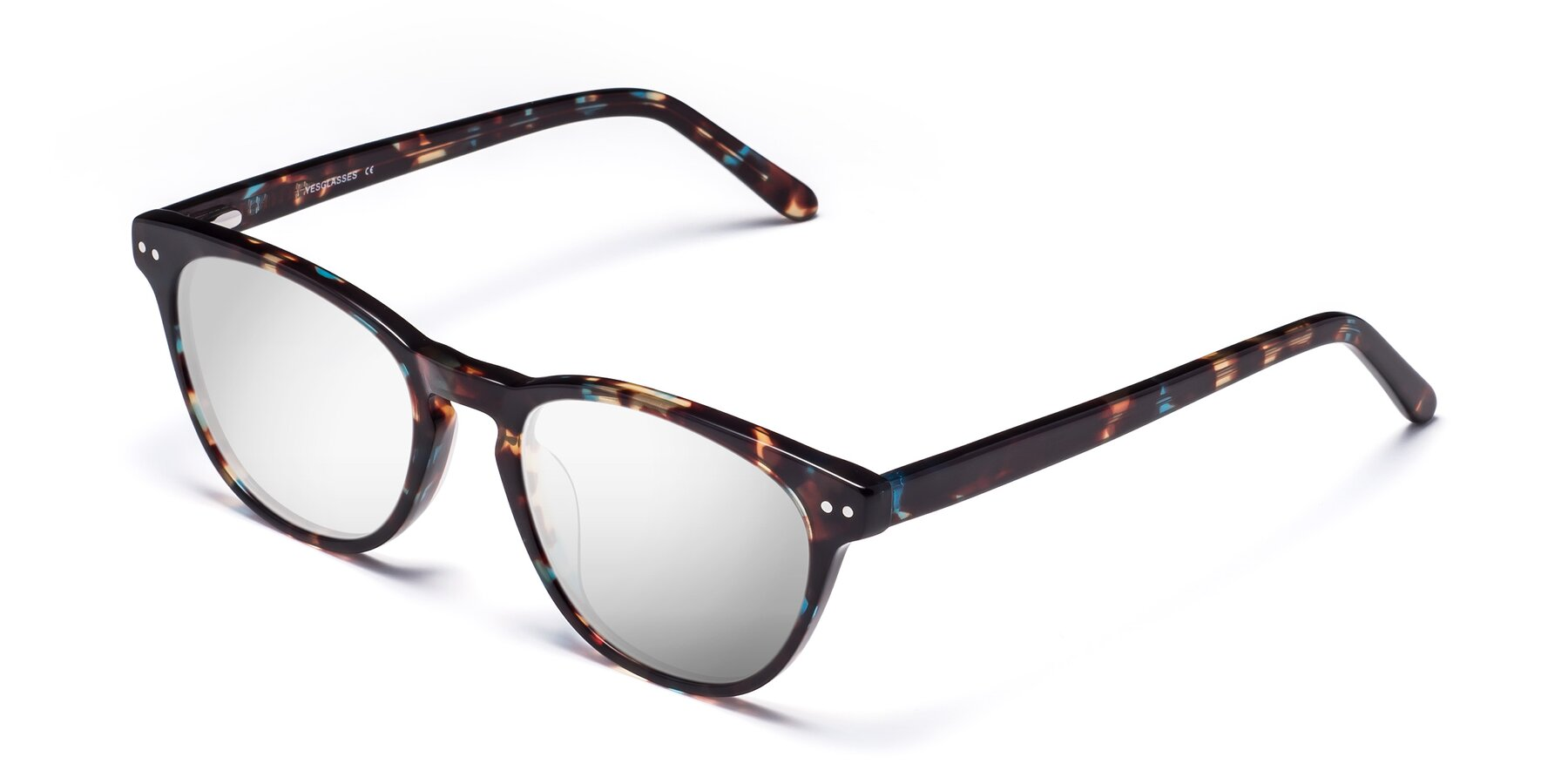 Angle of Blaze in Tortoise-Blue with Silver Mirrored Lenses