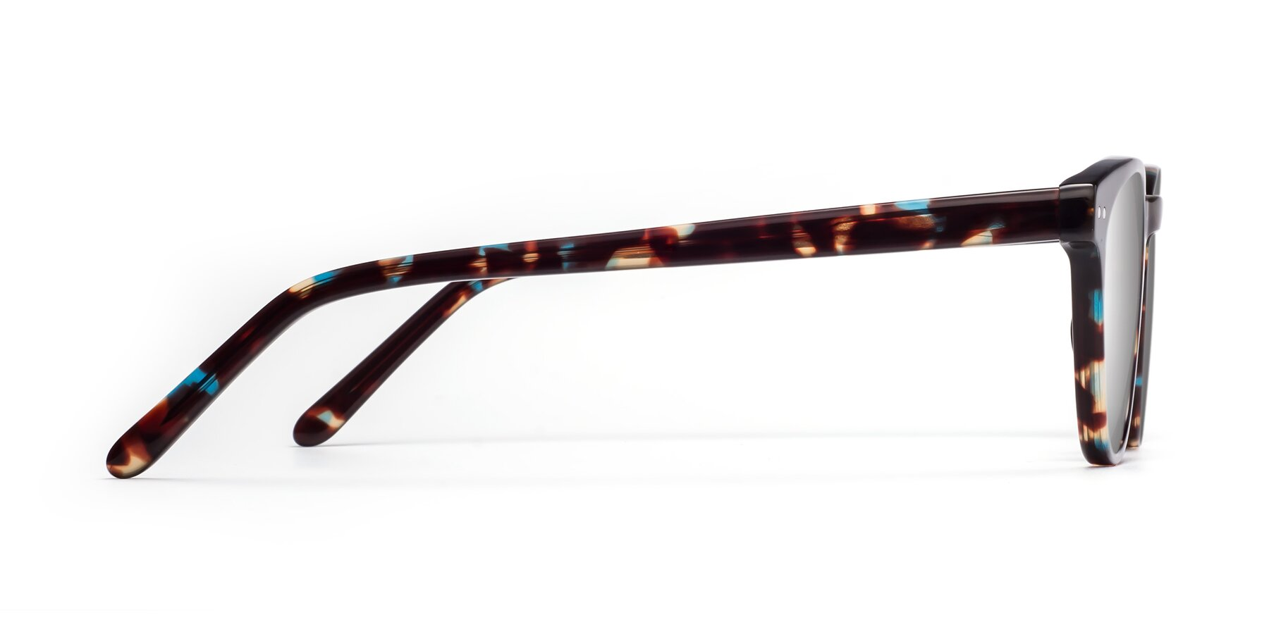 Side of Blaze in Tortoise-Blue with Silver Mirrored Lenses