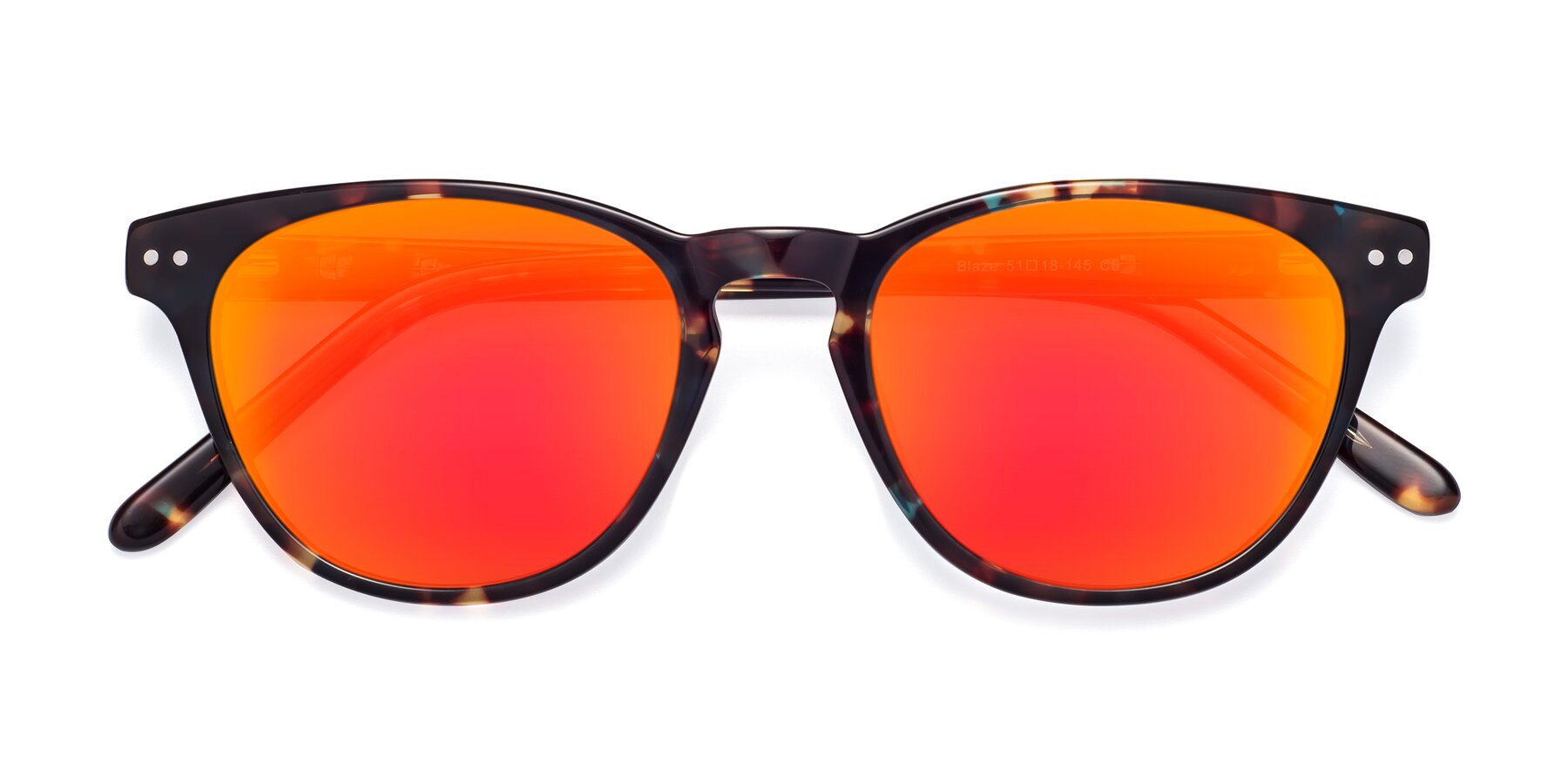 Folded Front of Blaze in Tortoise-Blue with Red Gold Mirrored Lenses