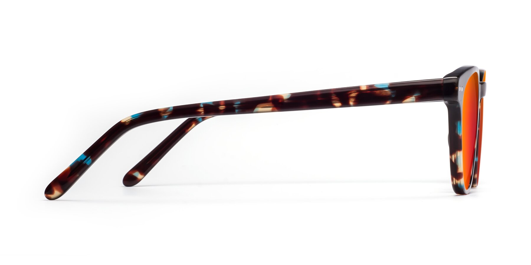 Side of Blaze in Tortoise-Blue with Red Gold Mirrored Lenses