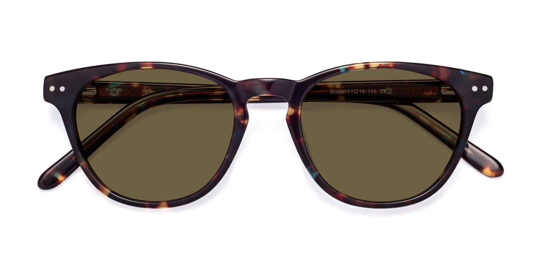 Folded Front of Blaze in Tortoise-Blue with Brown Polarized Lenses