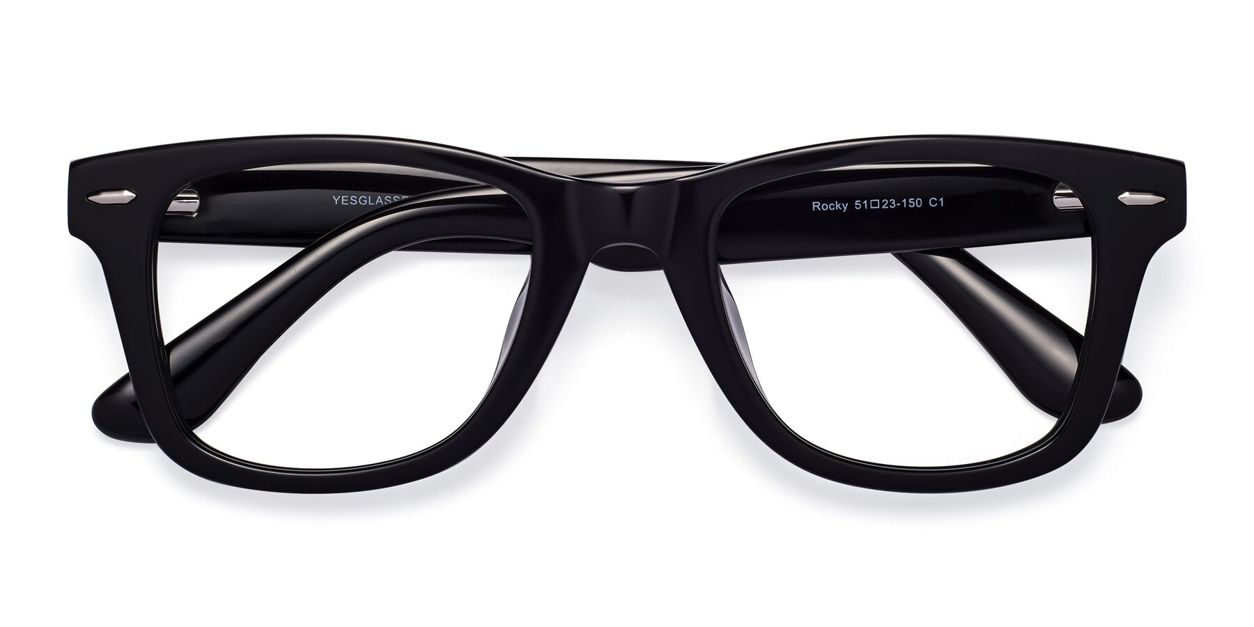 Folded Front of Rocky in Black with Clear Blue Light Blocking Lenses