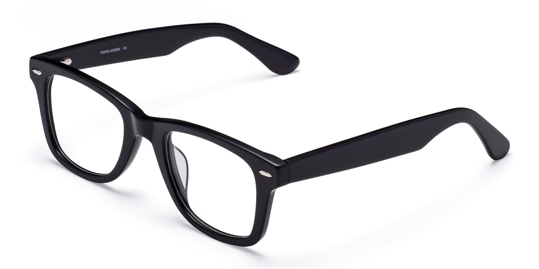 Angle of Rocky in Black with Clear Blue Light Blocking Lenses