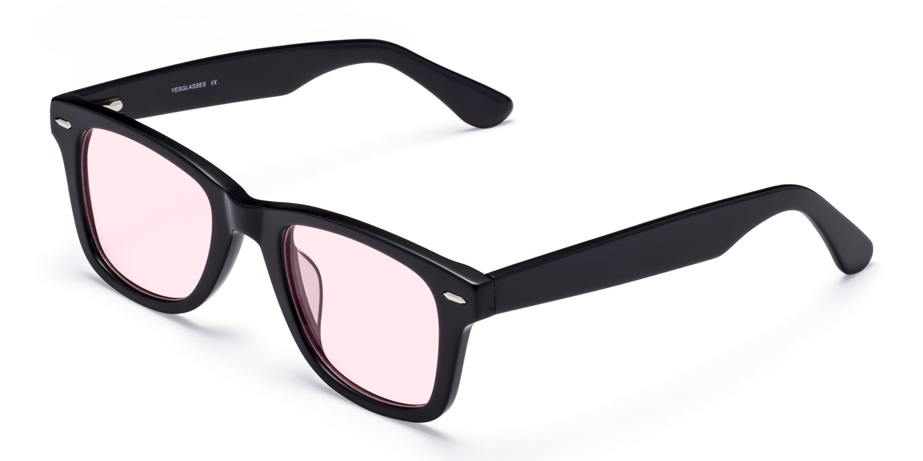 Angle of Rocky in Black with Light Pink Tinted Lenses