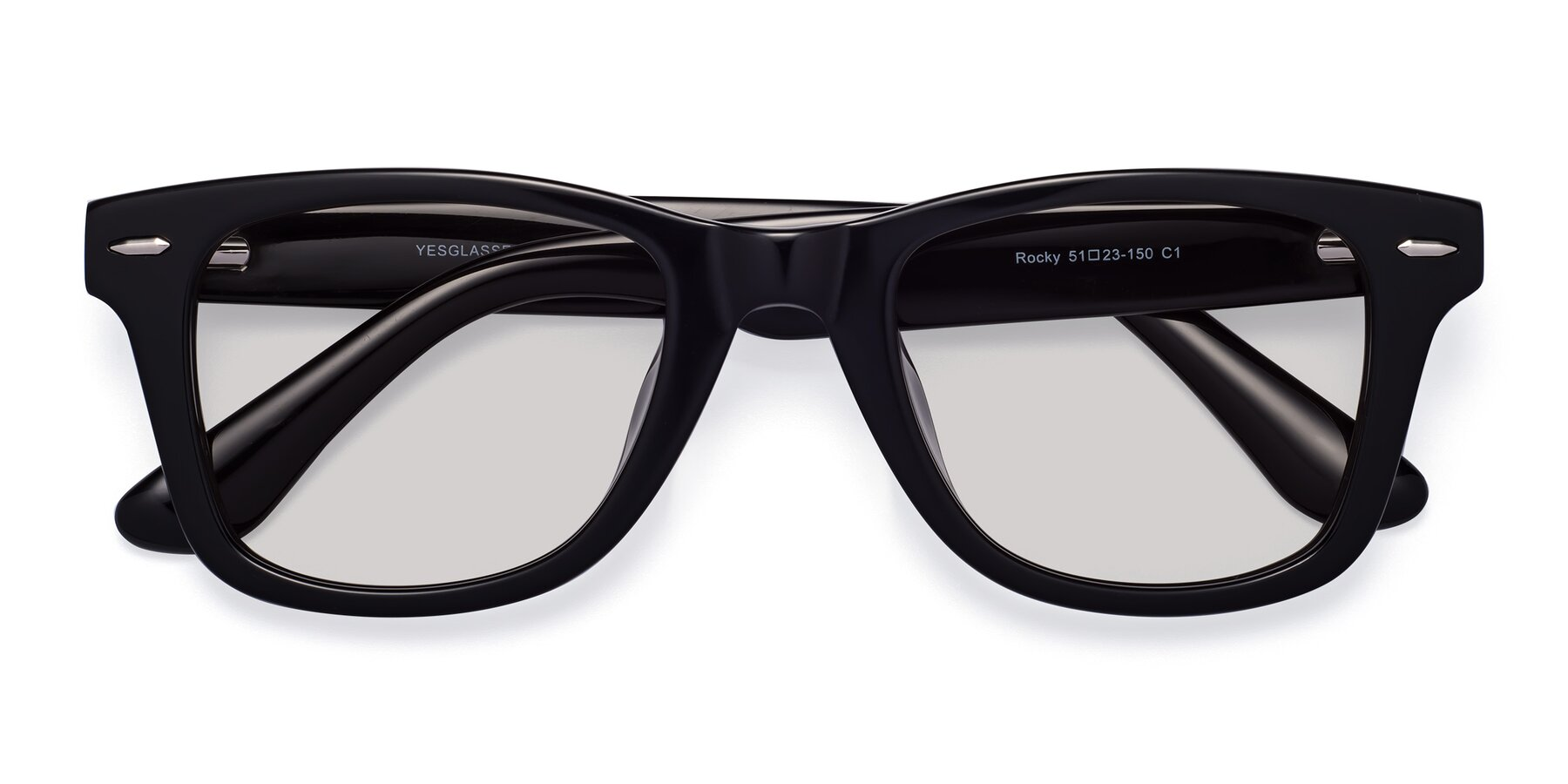 Folded Front of Rocky in Black with Light Gray Tinted Lenses