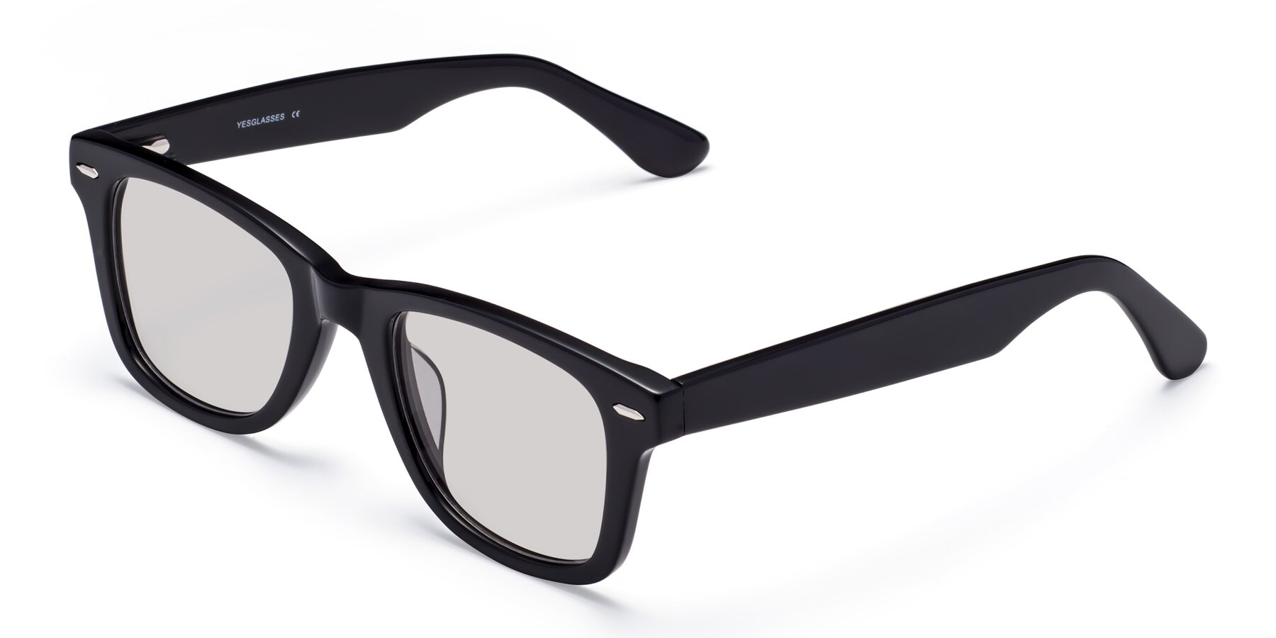 Angle of Rocky in Black with Light Gray Tinted Lenses