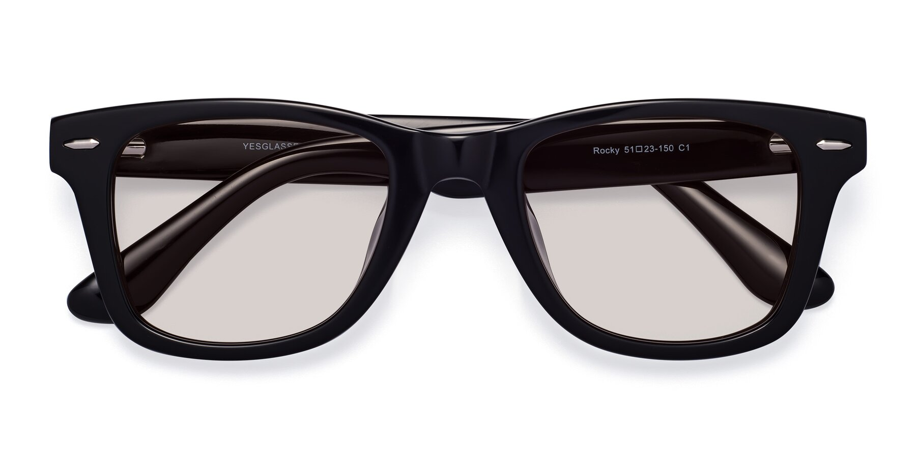 Folded Front of Rocky in Black with Light Brown Tinted Lenses