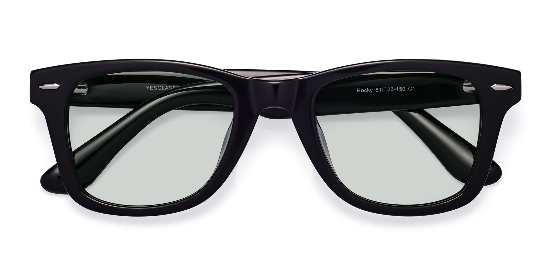Folded Front of Rocky in Black with Light Green Tinted Lenses