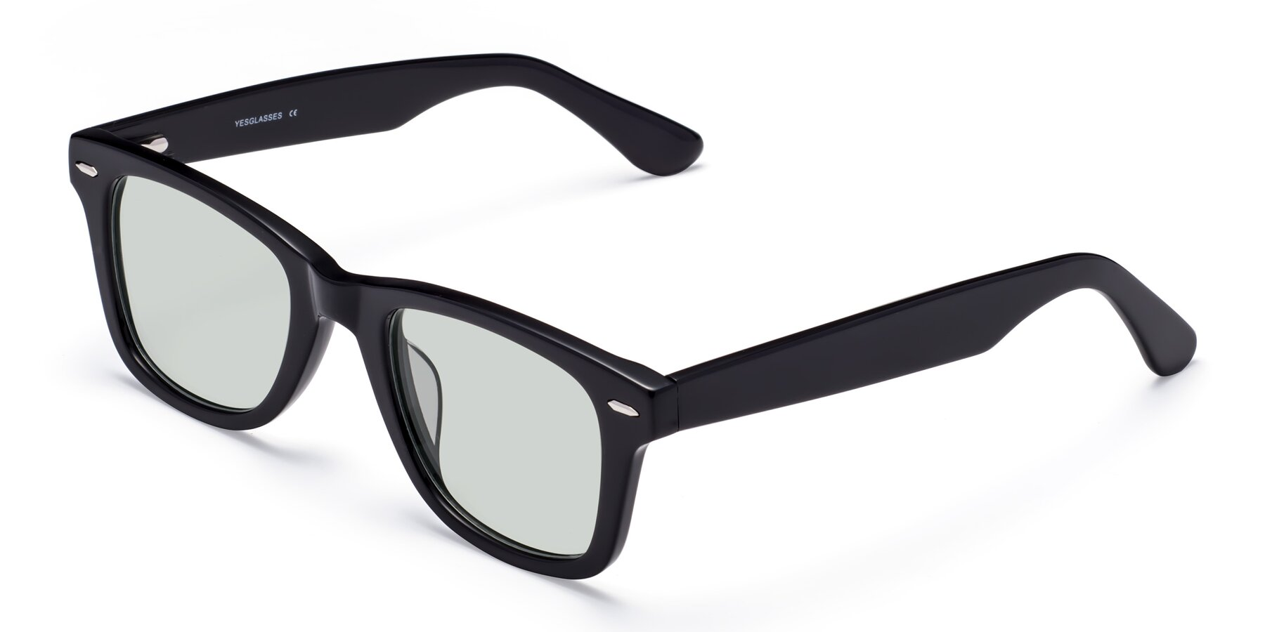 Angle of Rocky in Black with Light Green Tinted Lenses