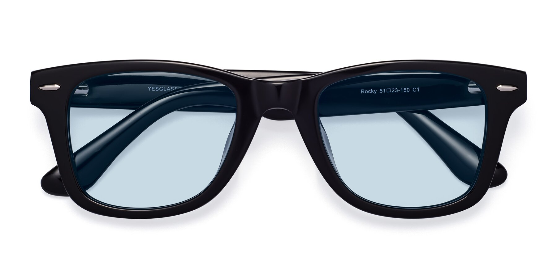 Folded Front of Rocky in Black with Light Blue Tinted Lenses