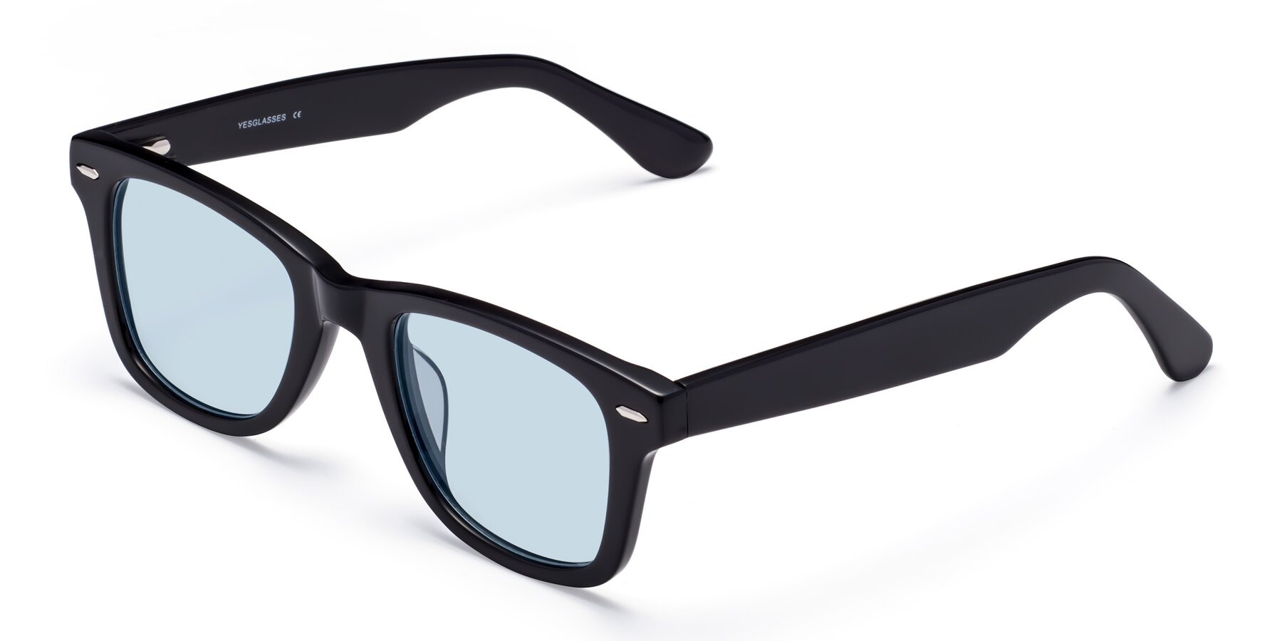 Angle of Rocky in Black with Light Blue Tinted Lenses