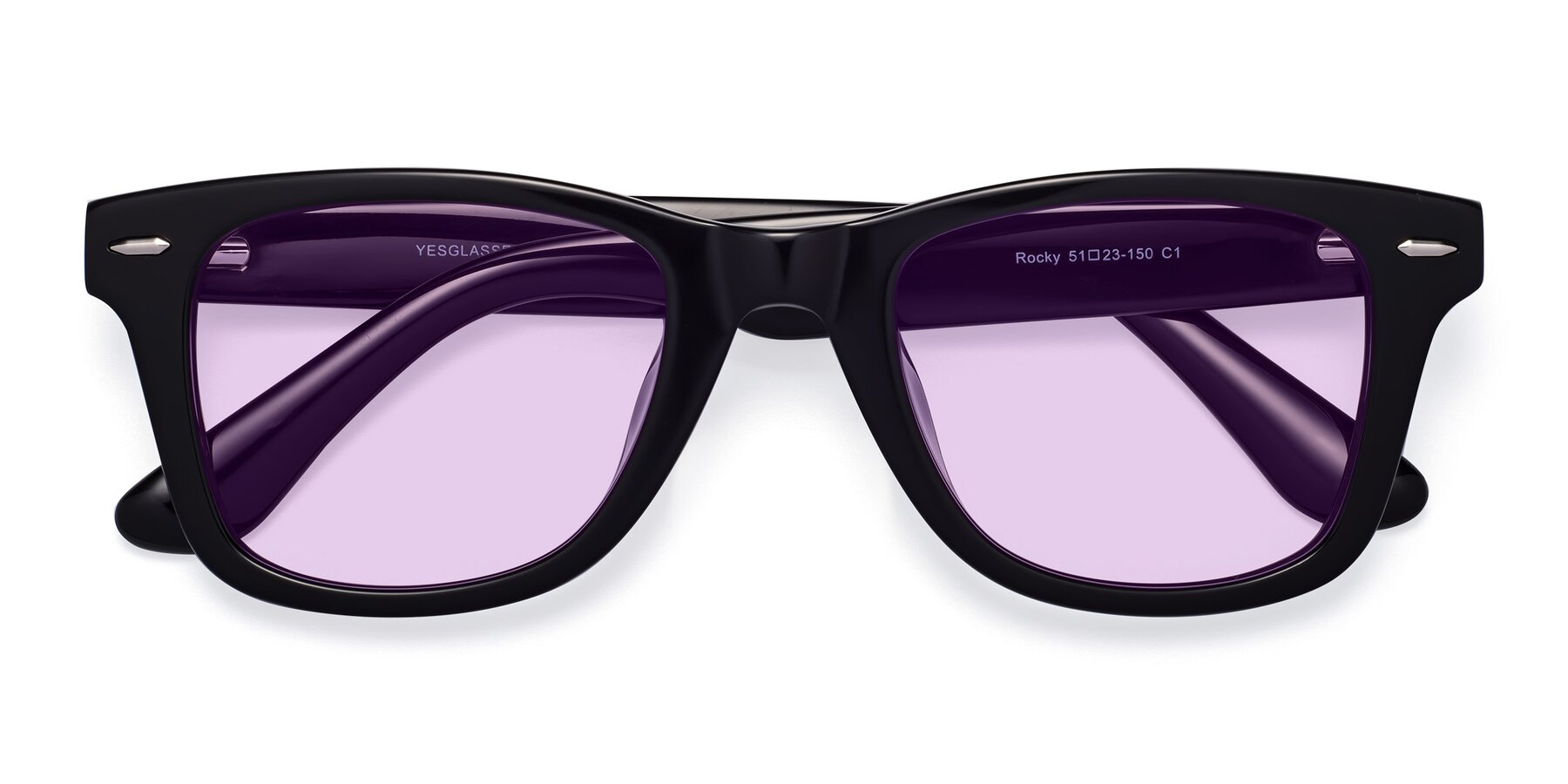 Folded Front of Rocky in Black with Light Purple Tinted Lenses