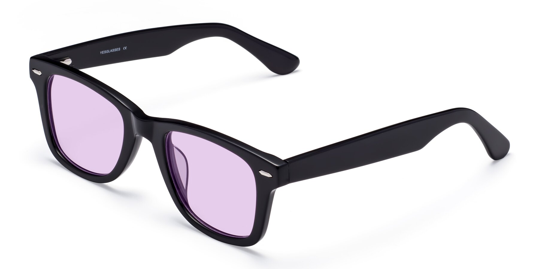 Angle of Rocky in Black with Light Purple Tinted Lenses
