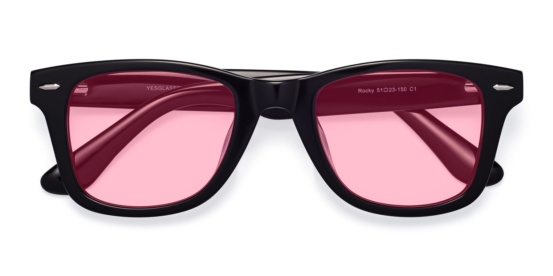 Folded Front of Rocky in Black with Medium Pink Tinted Lenses