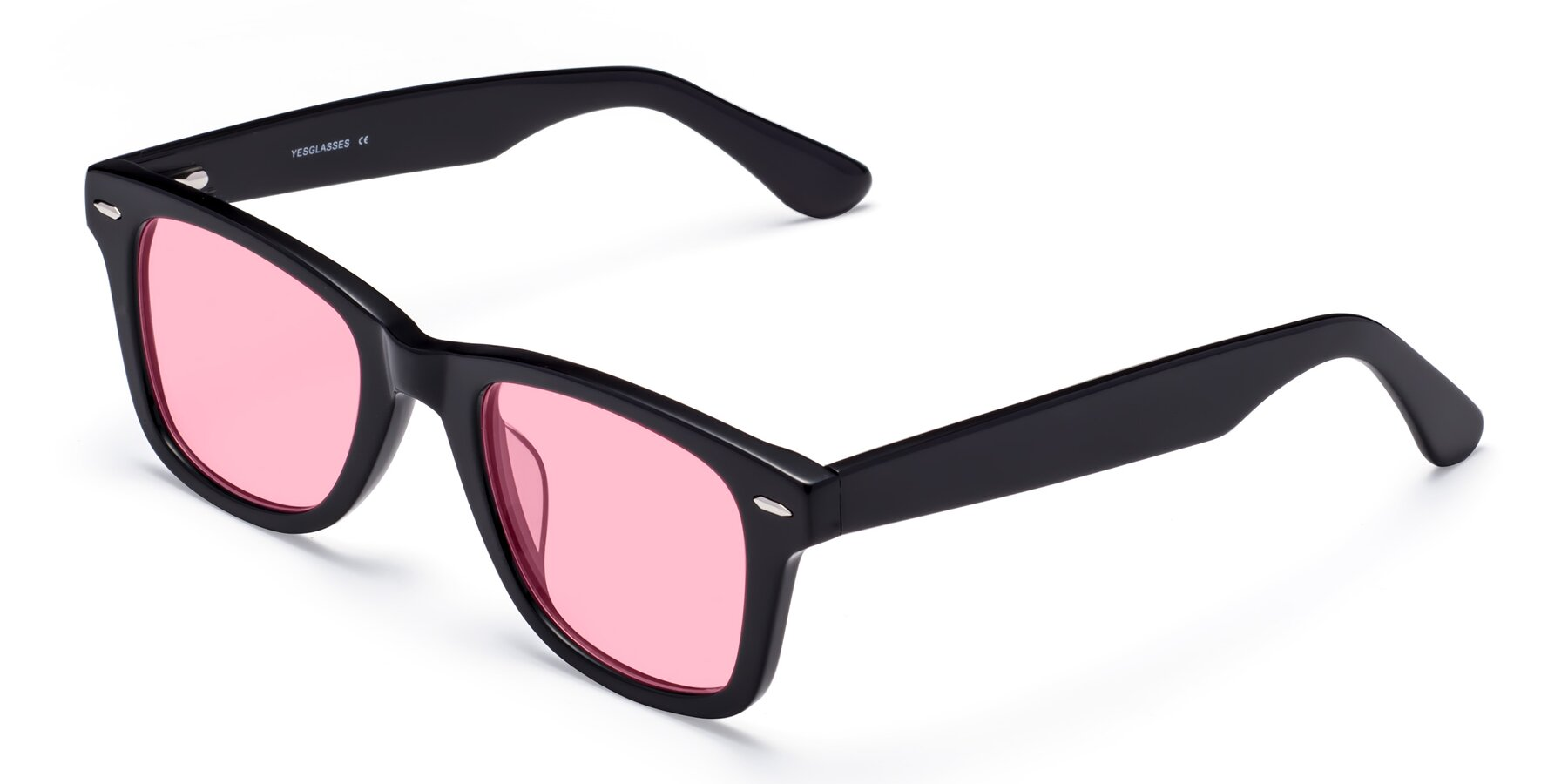 Angle of Rocky in Black with Medium Pink Tinted Lenses
