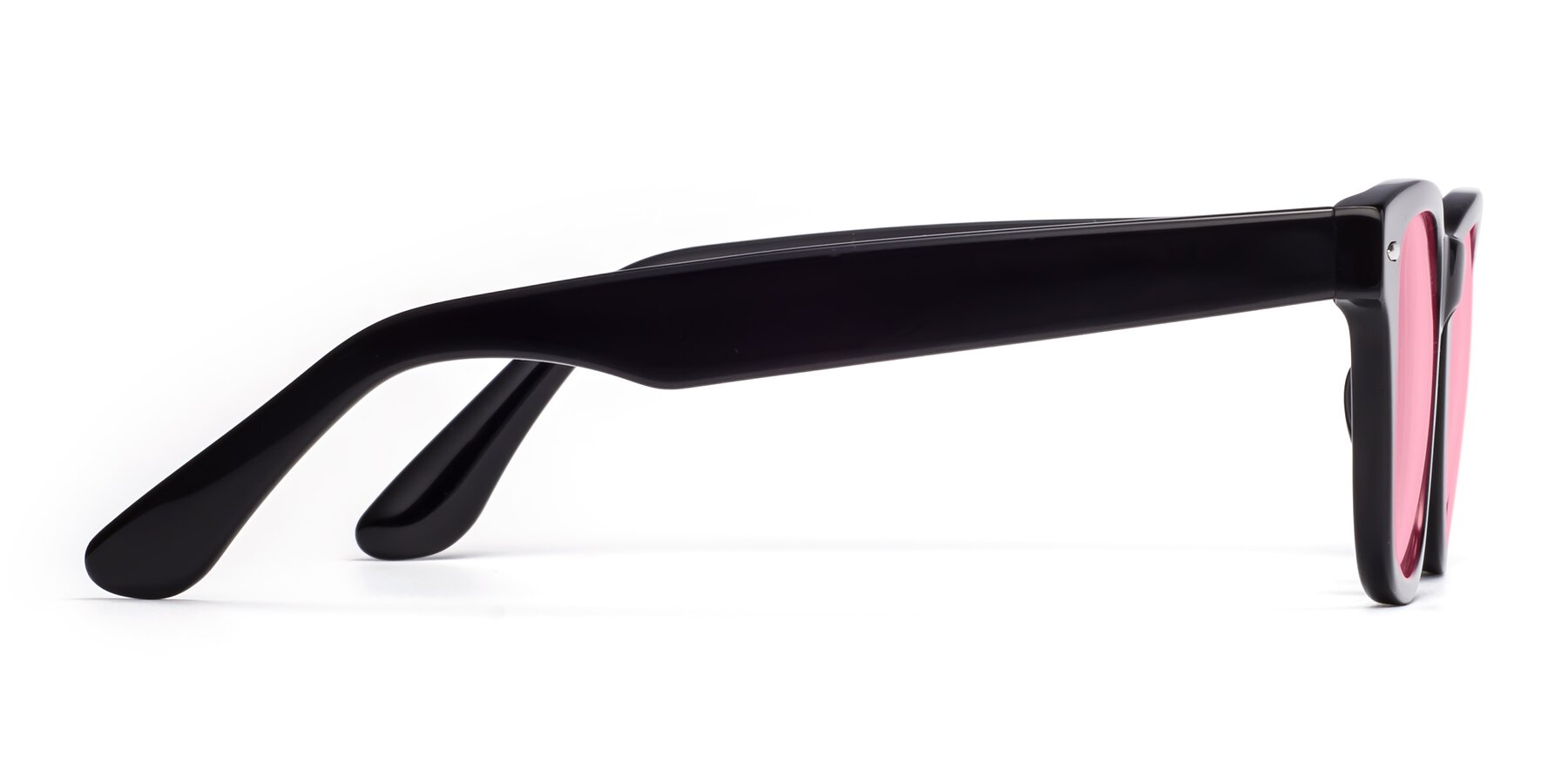 Side of Rocky in Black with Medium Pink Tinted Lenses