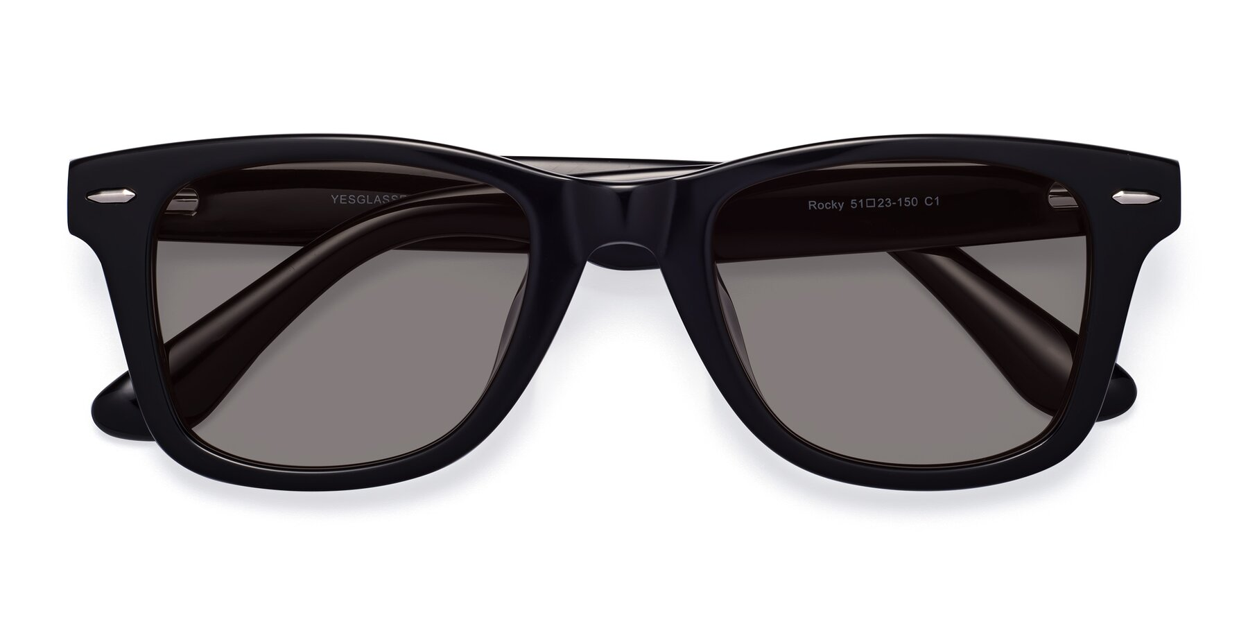 Folded Front of Rocky in Black with Medium Gray Tinted Lenses