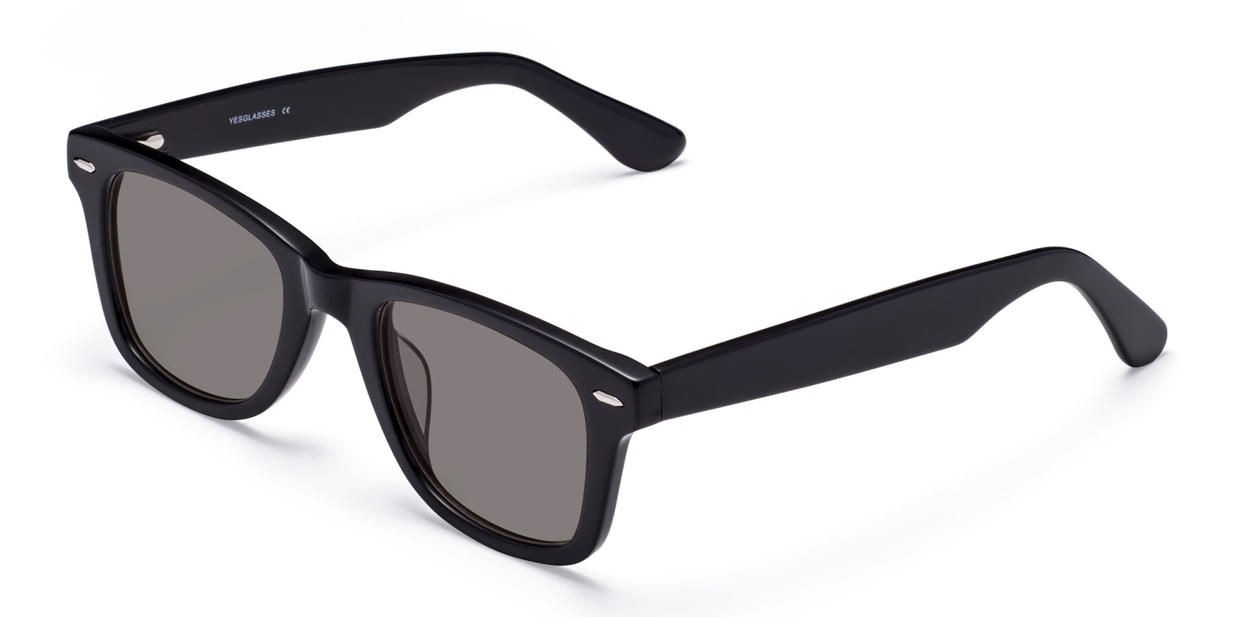 Angle of Rocky in Black with Medium Gray Tinted Lenses