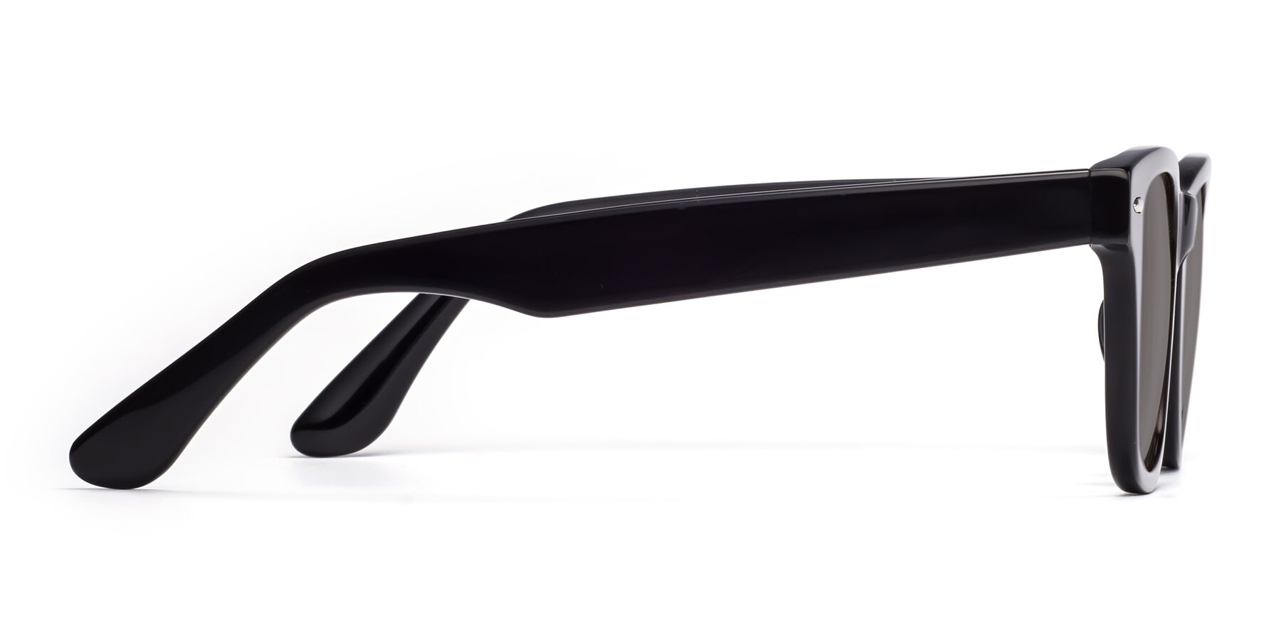 Side of Rocky in Black with Medium Gray Tinted Lenses