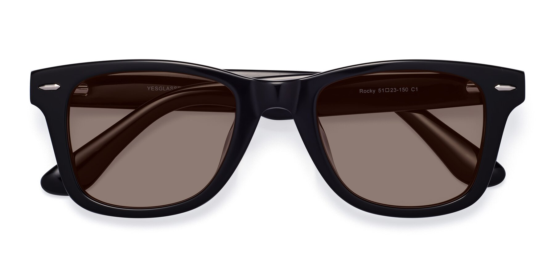 Folded Front of Rocky in Black with Medium Brown Tinted Lenses