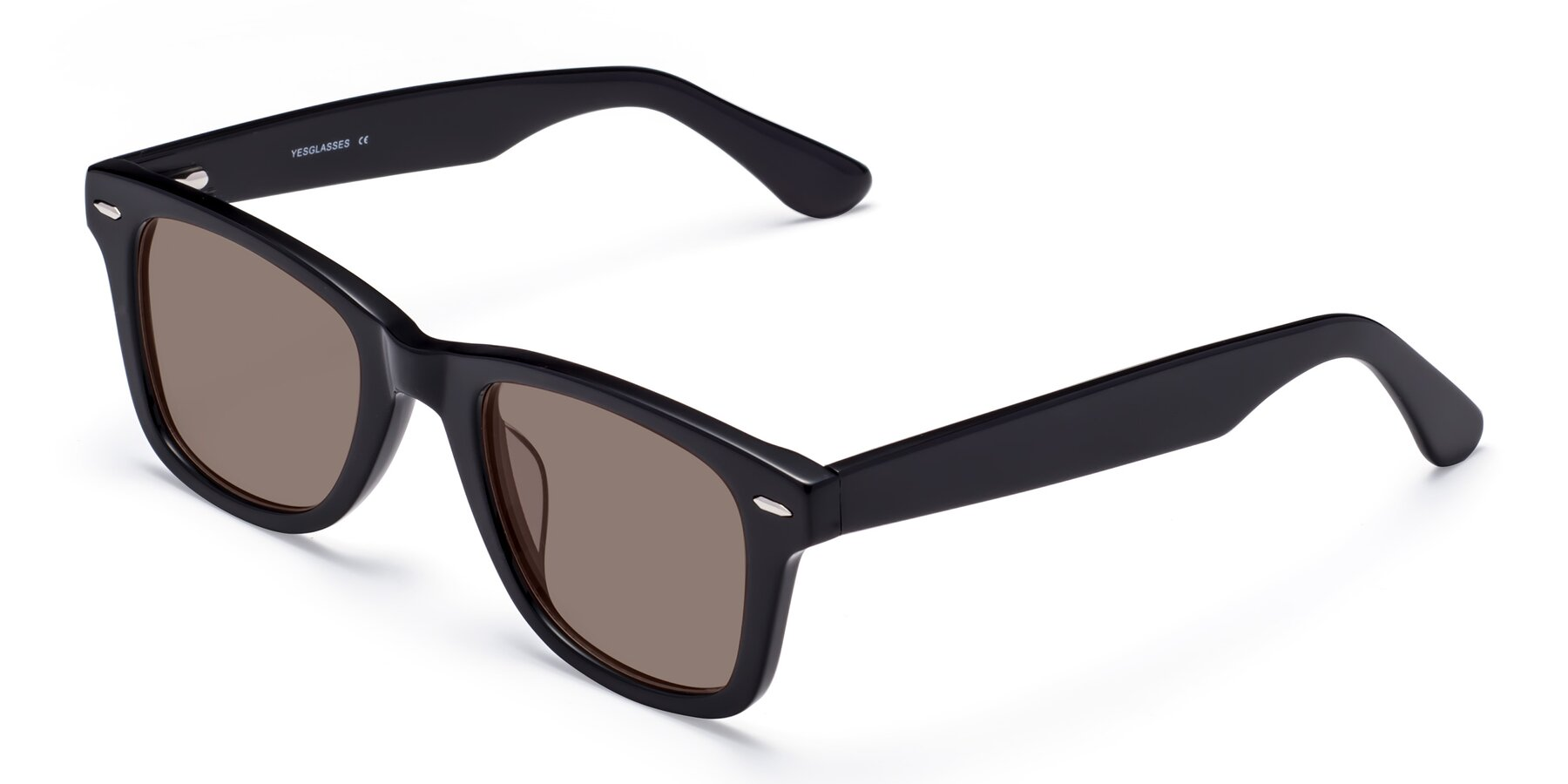 Angle of Rocky in Black with Medium Brown Tinted Lenses