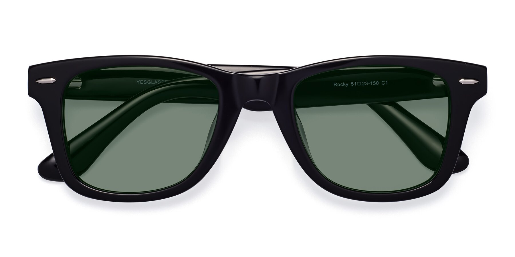 Folded Front of Rocky in Black with Medium Green Tinted Lenses