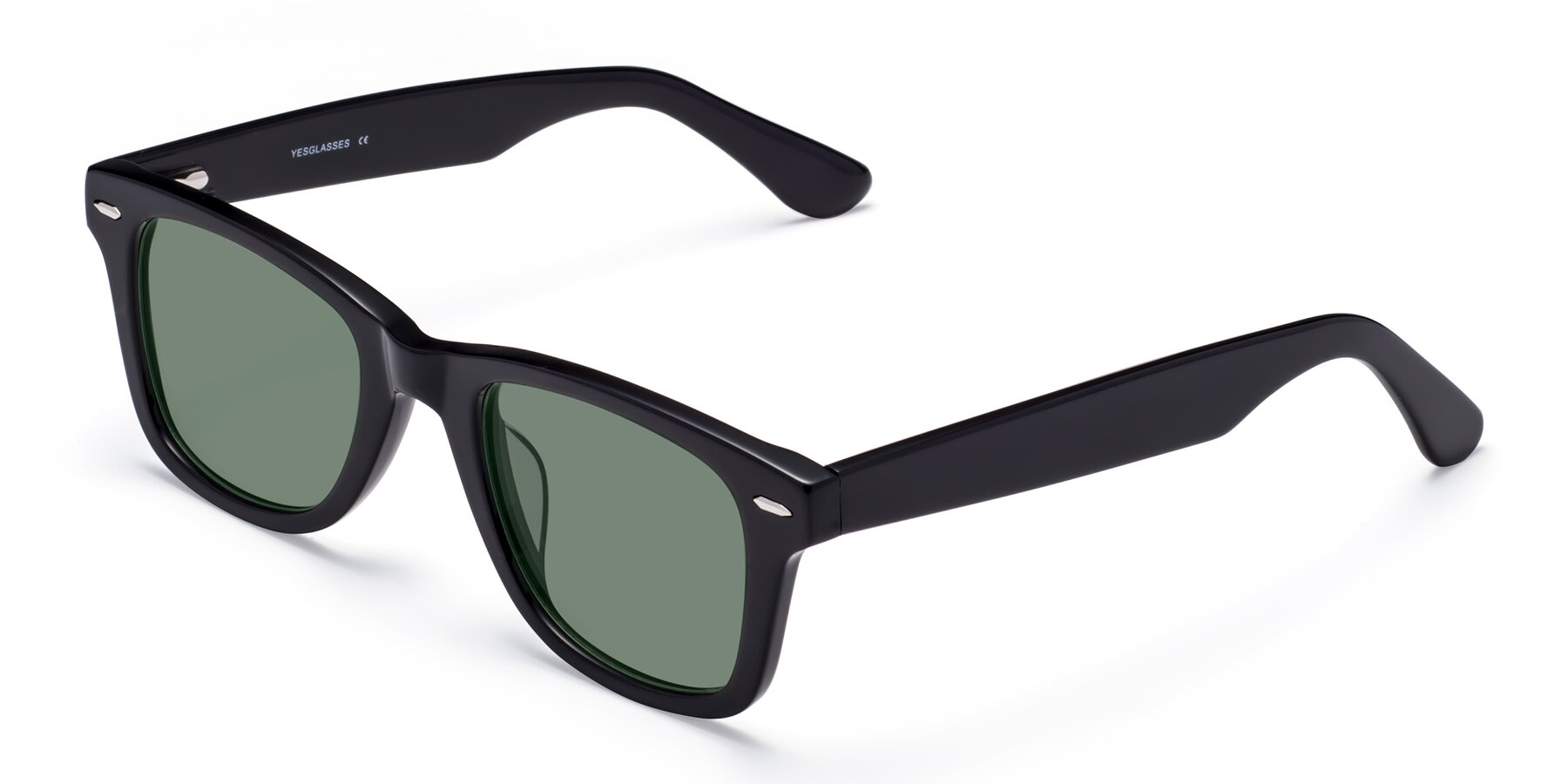 Angle of Rocky in Black with Medium Green Tinted Lenses