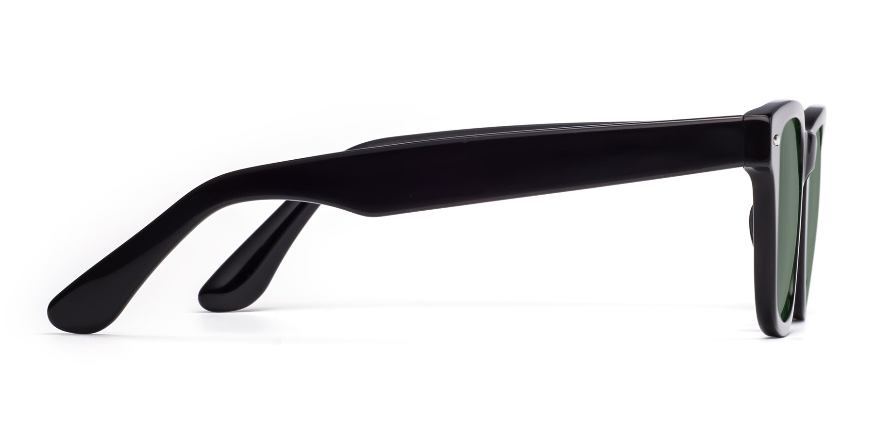 Side of Rocky in Black with Medium Green Tinted Lenses