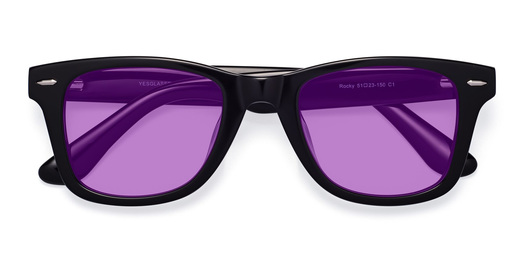 Folded Front of Rocky in Black with Medium Purple Tinted Lenses