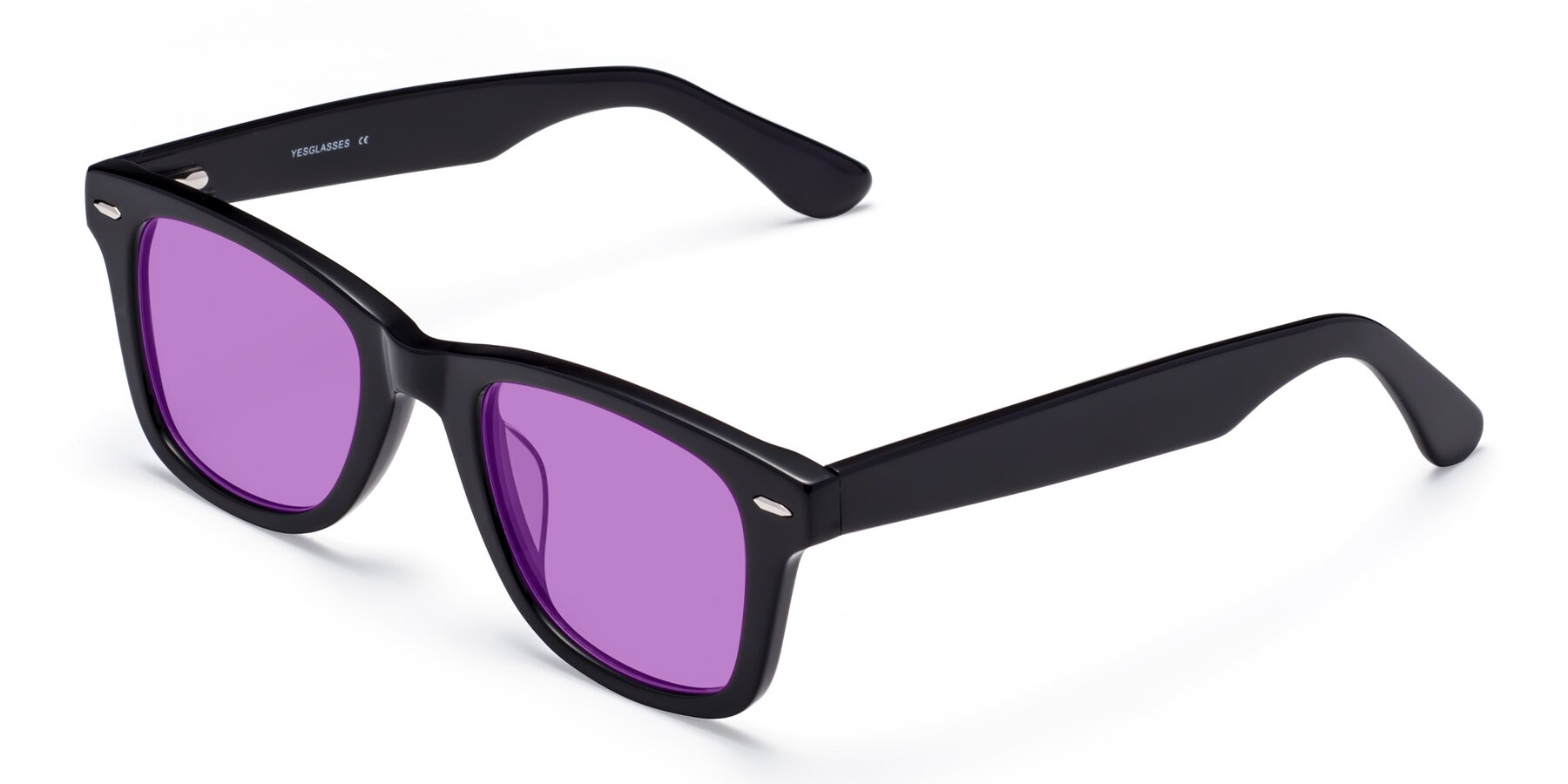 Angle of Rocky in Black with Medium Purple Tinted Lenses