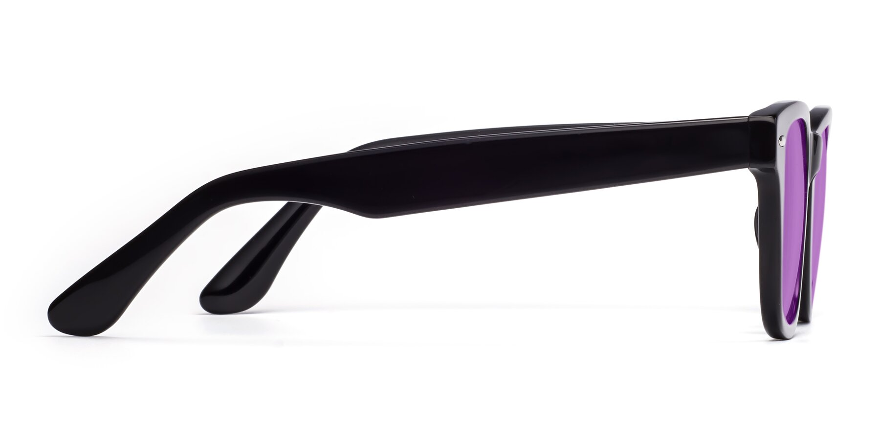 Side of Rocky in Black with Medium Purple Tinted Lenses