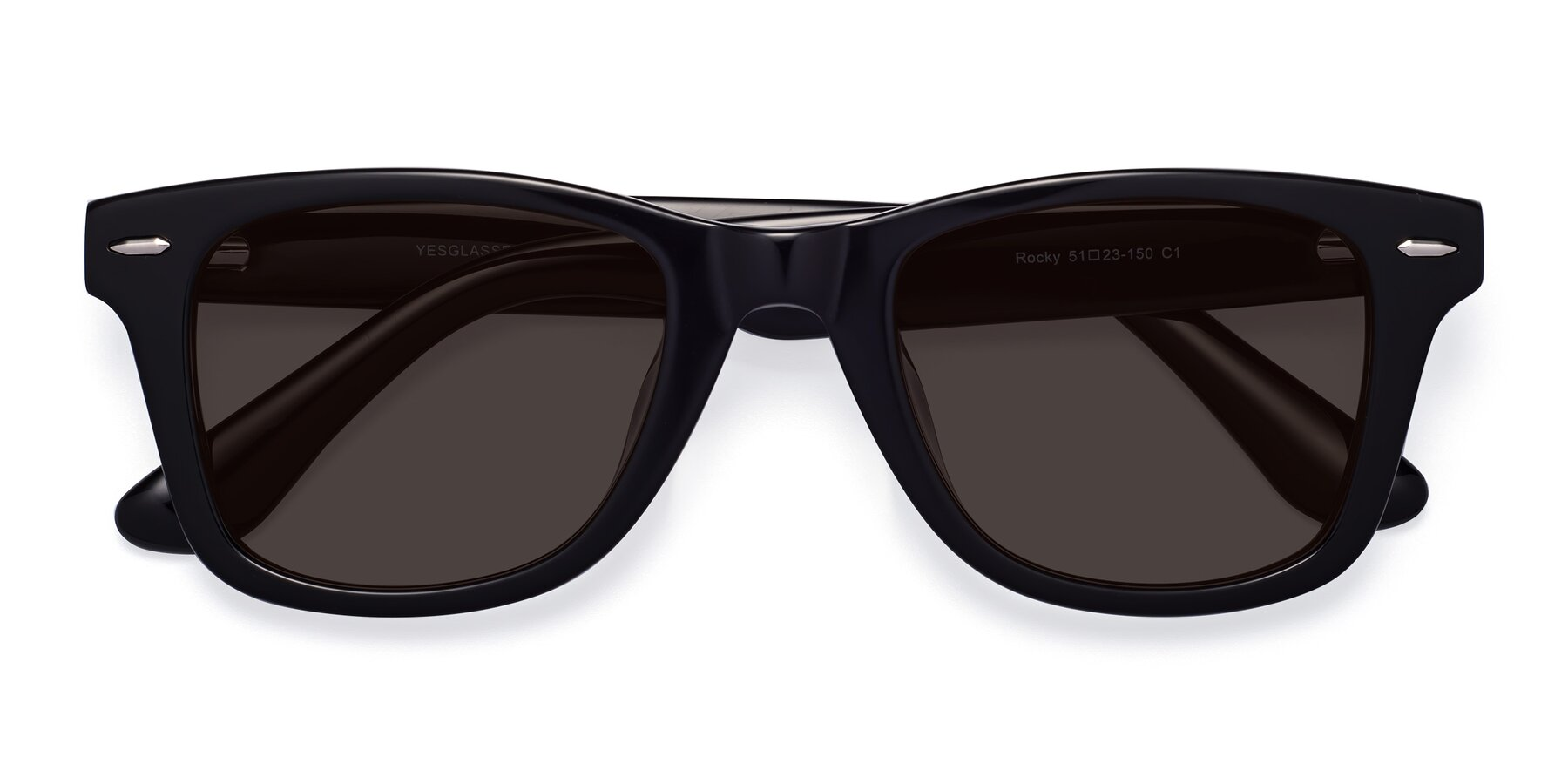 Folded Front of Rocky in Black with Gray Tinted Lenses