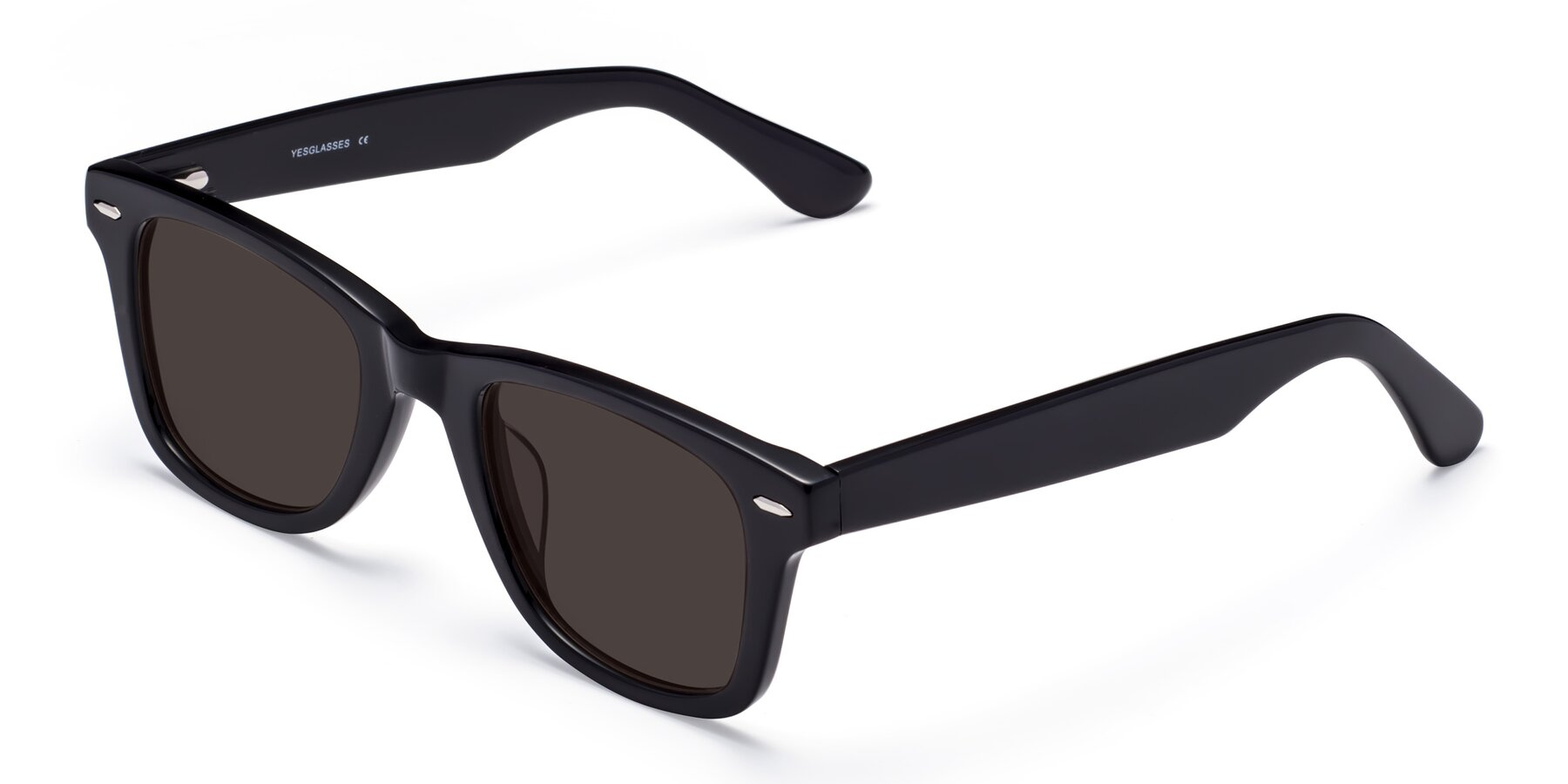 Angle of Rocky in Black with Gray Tinted Lenses