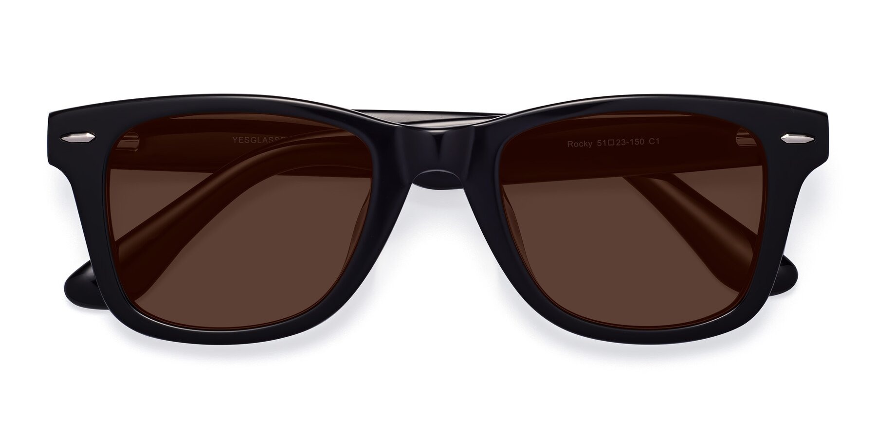 Folded Front of Rocky in Black with Brown Tinted Lenses